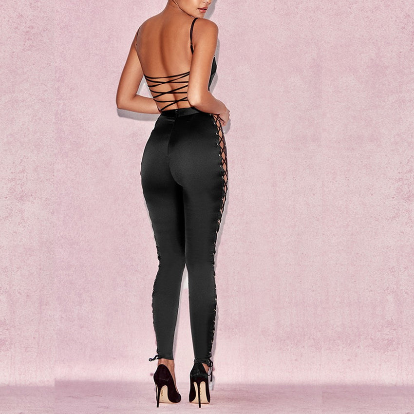 Jumpsuit with Side Lace Ups - Rumor Apparel