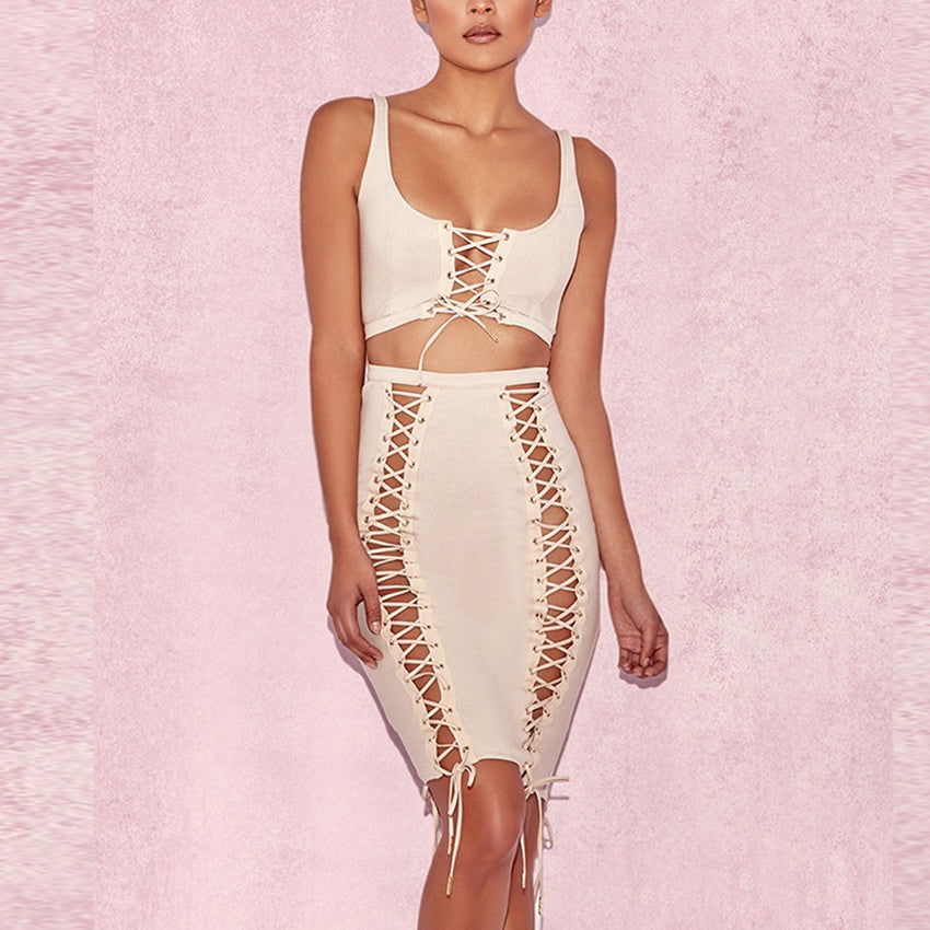 Two Piece Lace Up Dress