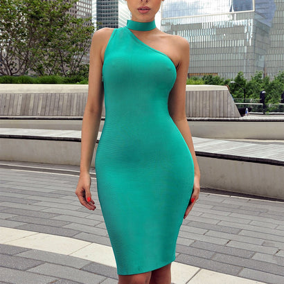 Choker Detail Asymmetric Bandage Dress - Rumor Apparel