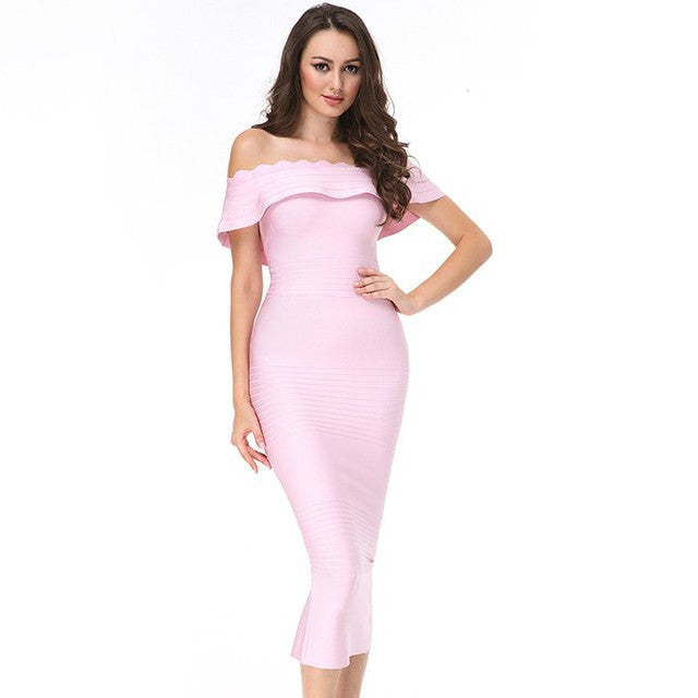 Off Shoulder Bandage Dress - Rumor Apparel
