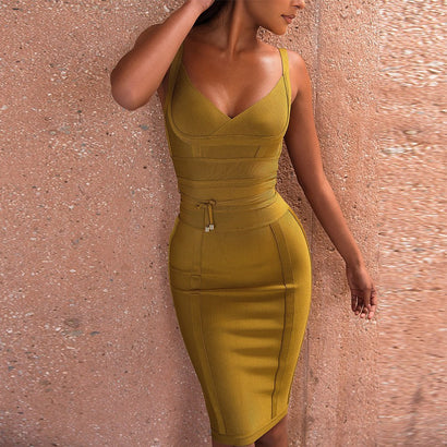 Tie Waist Bandage Dress - Rumor Apparel
