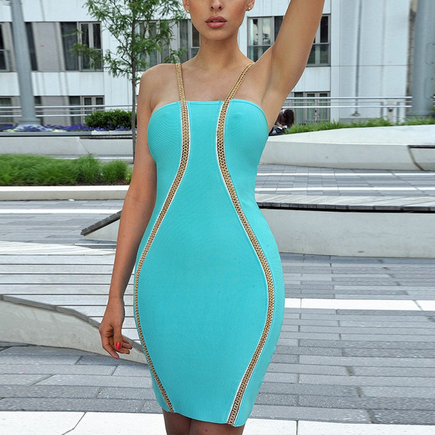 Bandage Dress with Detailed Gold Strap - Rumor Apparel