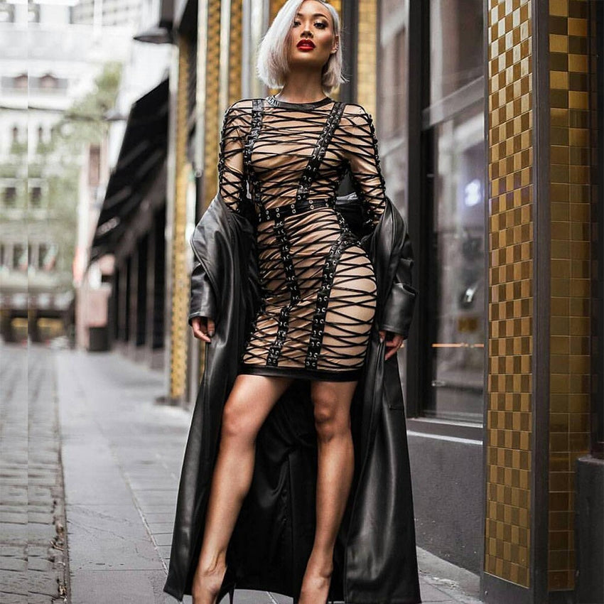 Nude & Black Lace Up Dress - Rumor Apparel