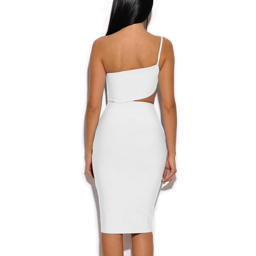 Asymmetric Cutout Detail Bandage Dress - Rumor Apparel