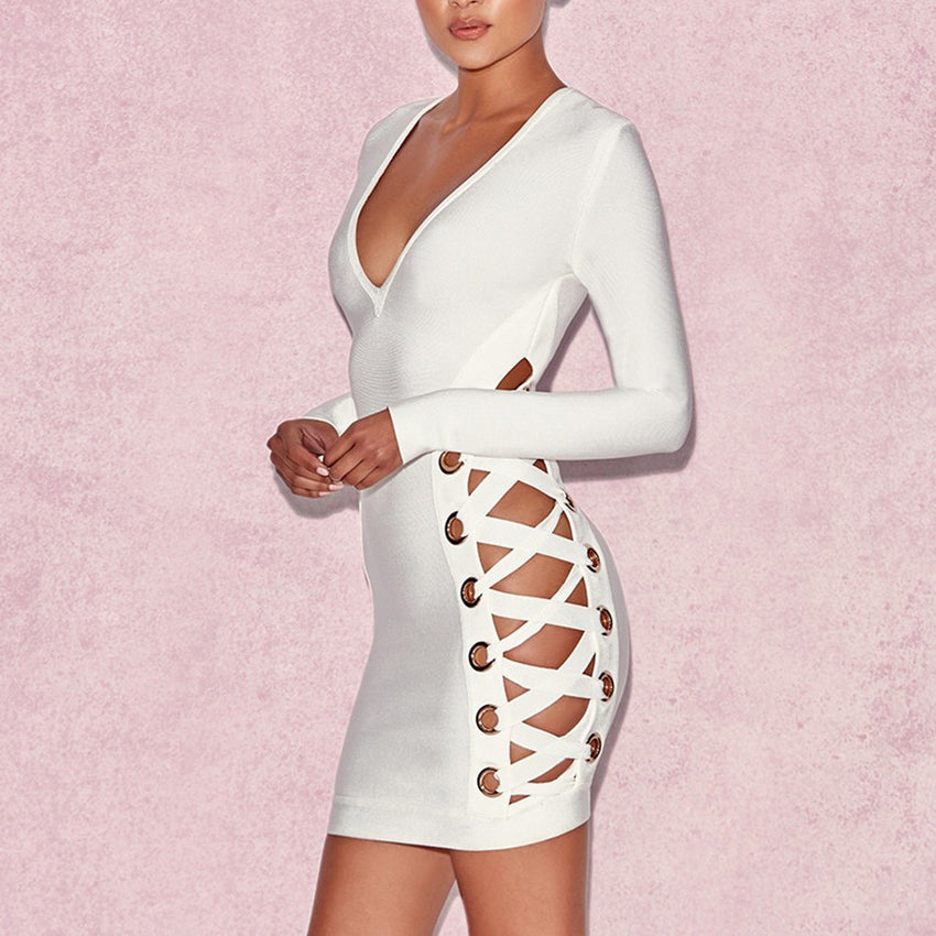 White Bandage Eyelet Dress