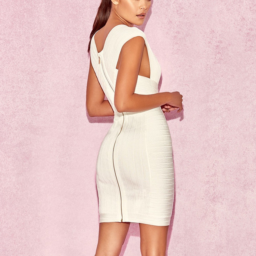 Plunge Front Bandage Dress - Rumor Apparel