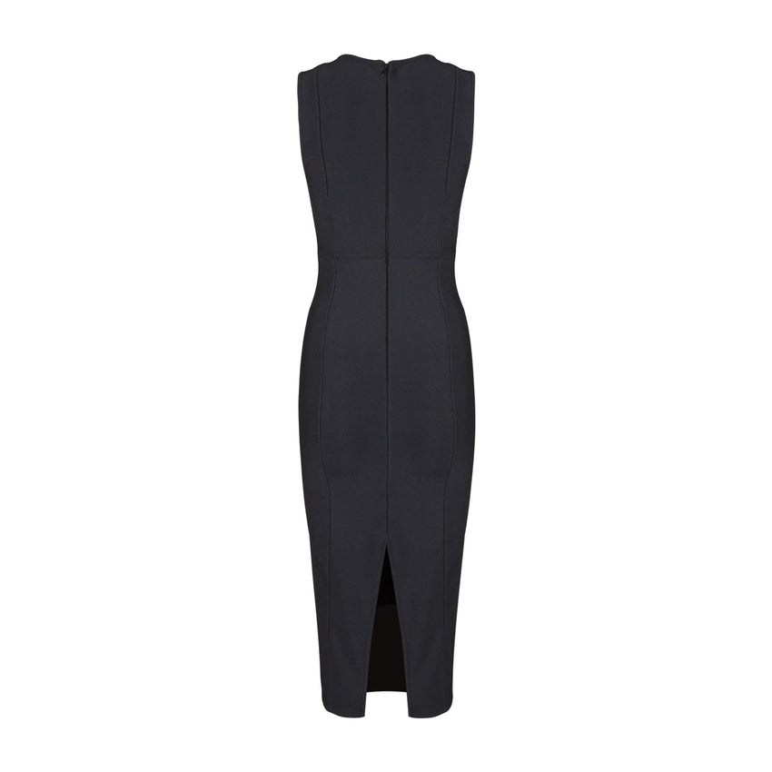 Criss Cross Sleeveless Bandage Dress - Black - Rumor Apparel