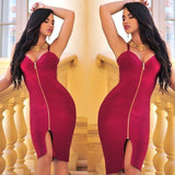 Sleeveless Zip Front Bandage Dress - Rumor Apparel