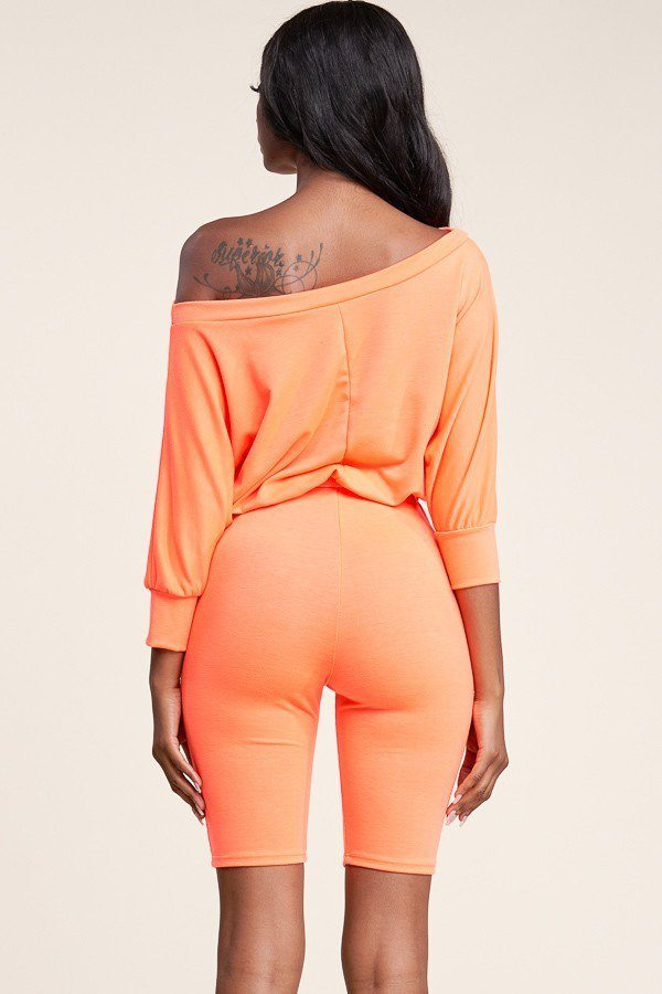 Slouchy Solid French Terry 3/4 Sleeve Romper - Rumor Apparel