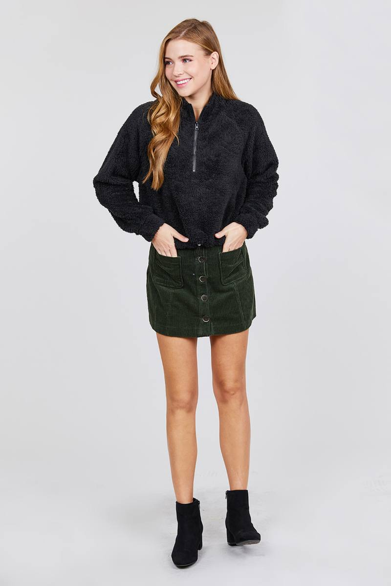 Long Dolman Sleeve Mock Neck W/zipper Detail Toggle Elastic Hem Faux Fur Top - Rumor Apparel