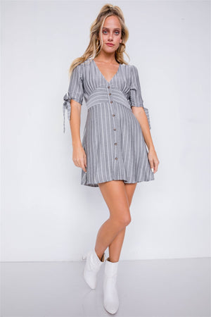 Stripe Casual Office Chic 3/4 Bow Sleeve Mini Dress - Rumor Apparel