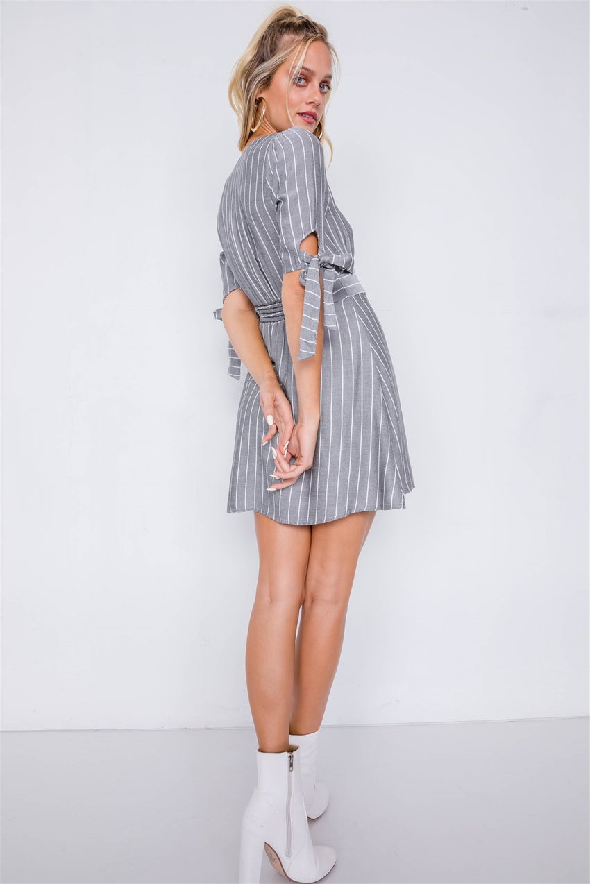Stripe Casual Office Chic 3/4 Bow Sleeve Mini Dress