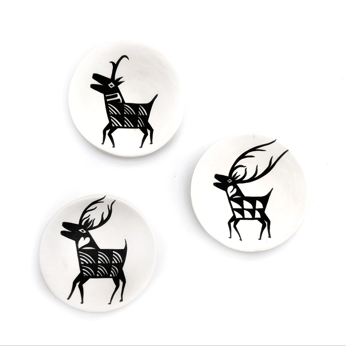 Small Clay Elk Plates - Three Piece Set