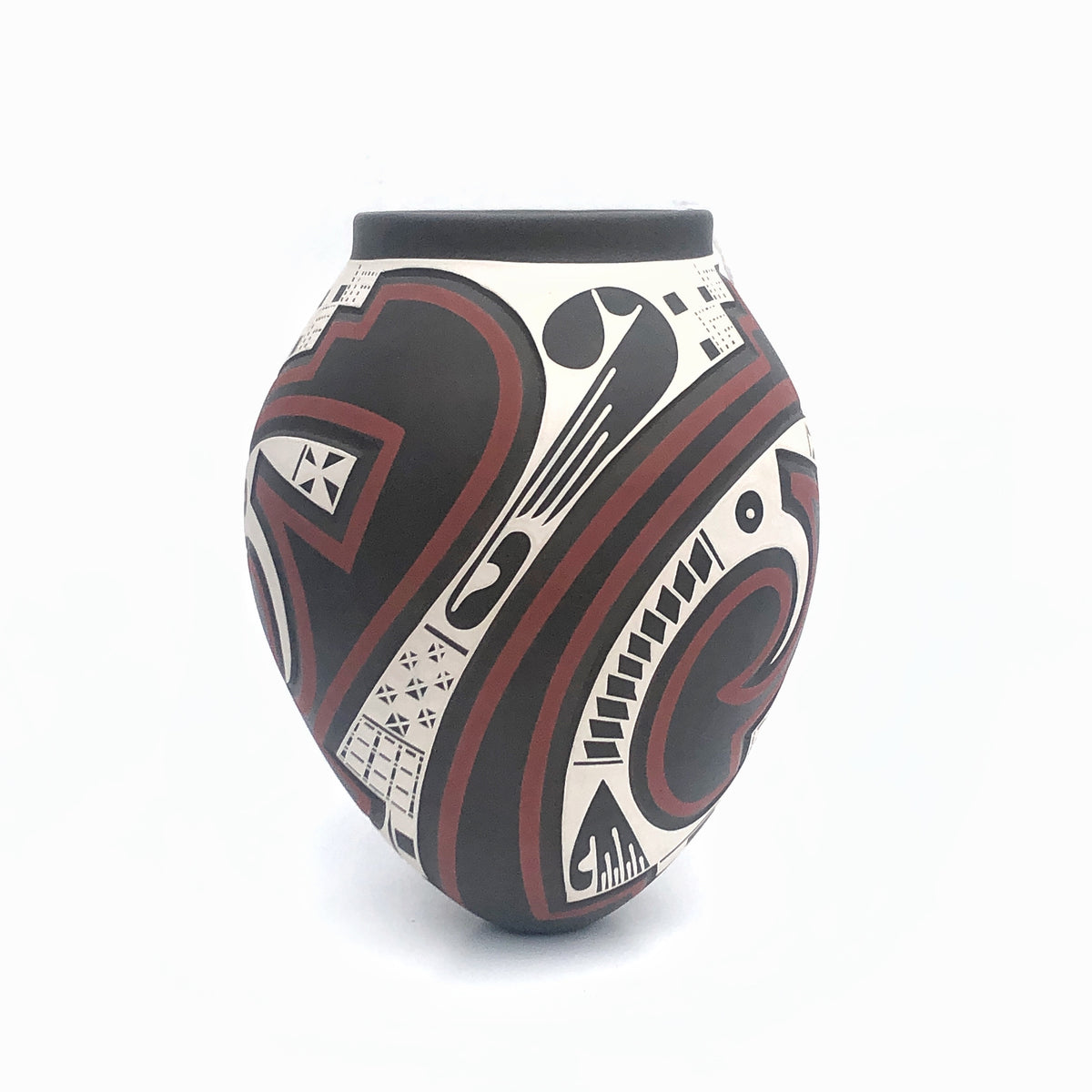 Engraved and Painted Pot by Lazaro Osuna Silveira