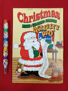 Christmas Activity Pad with Snowman stackable Crayon