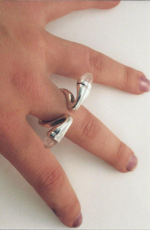 Ring in Silver Set with Onyx and Rose Quartz Ravenstone Jewelry - Ravenstone Jewelry
