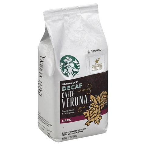 Starbucks Coffee, Ground, Dark, Caffe Verona, Decaf