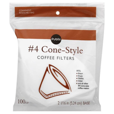 Publix Coffee Filters, No. 4 Cone-Style
