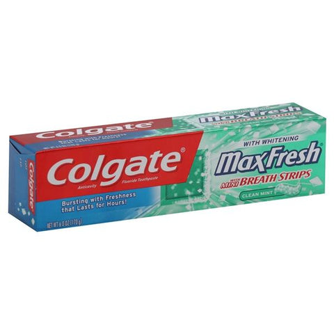 Colgate MaxFresh Toothpaste, Anticavity Fluoride, with Whitening, with Mini Breath Strips, Clean Mint