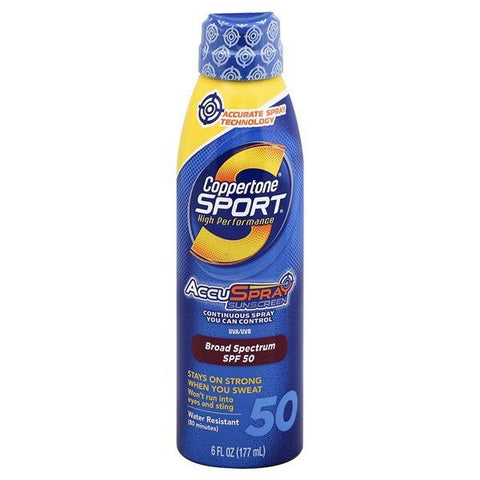 Coppertone Sport Sunscreen, AccuSpray, High Performance, Broad Spectrum SPF 50