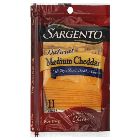 Sargento Sliced Cheese, Deli Style, Medium Cheddar