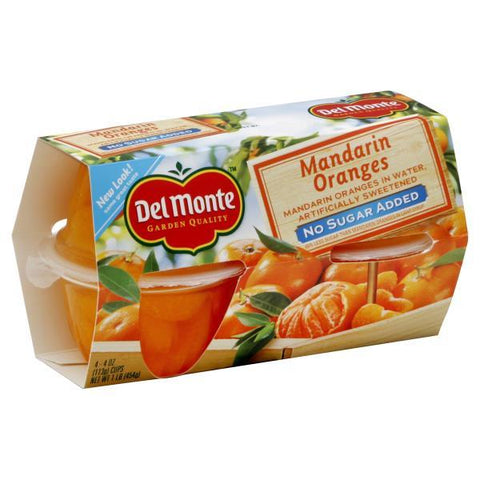 Del Monte Mandarin Oranges, in Water, No Sugar Added, 4pk