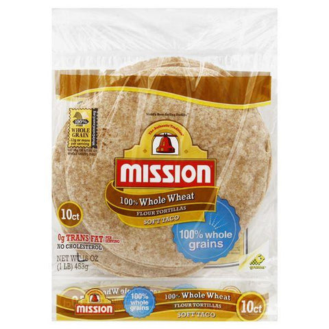 Mission Tortillas, Flour, 100% Whole Wheat, Soft Taco