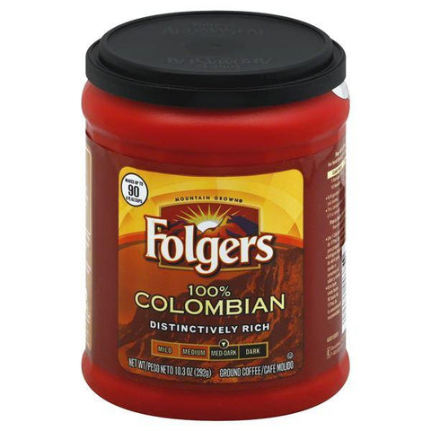 Folgers Coffee, Ground, Med-Dark, 100% Colombian