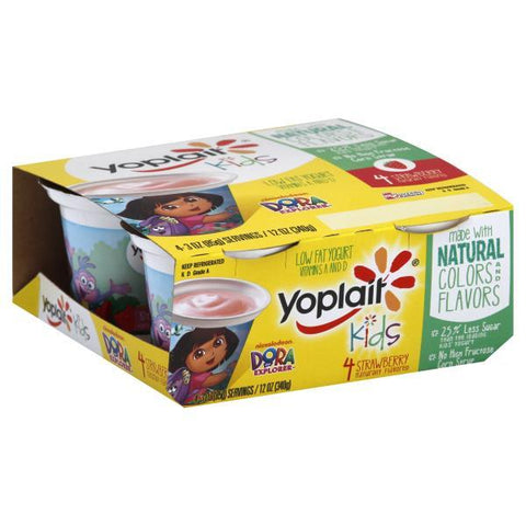 Yoplait Kids Yogurt, Dora the Explorer, Low Fat, Strawberry, 4pk