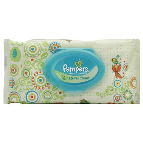 Pampers Wipes, Natural Clean, Unscented, 64 wipes