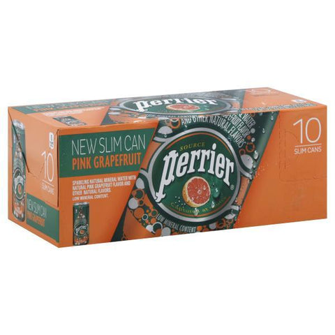 Perrier Sparkling Water, Pink Grapefruit, Slim Can, 10pk