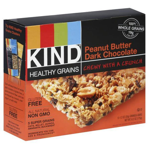 Kind Healthy Grains Granola Bars, Peanut Butter Dark Chocolate, Box of 5