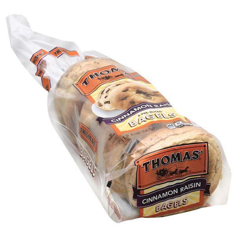 Thomas Bagels, Cinnamon Raisin, Pre-Sliced