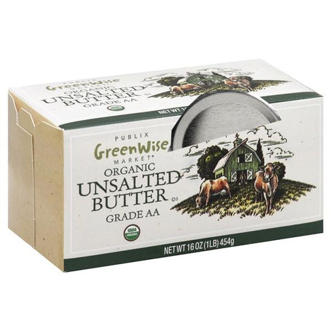 Publix Greenwise Butter, Organic, Unsalted, 4 ct
