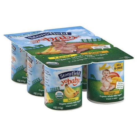 Stonyfield Farm Organic YoBaby Yogurt, Whole Milk, Banana/Mango