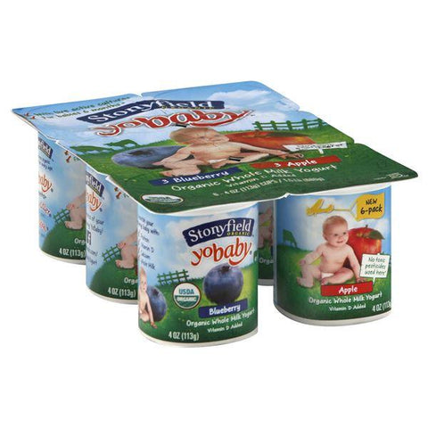 Stonyfield Farm Organic YoBaby Yogurt, Whole Milk, Blueberry/Apple