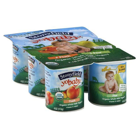 Stonyfield Farm Organic YoBaby Yogurt, Whole Milk, Peach/Pear
