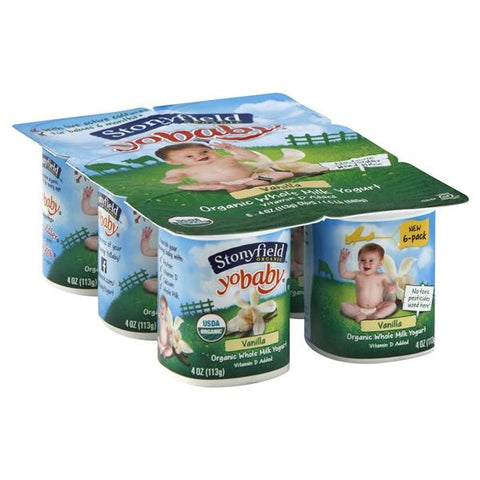 Stonyfield Farm Organic YoBaby Yogurt, Whole Milk, Vanilla