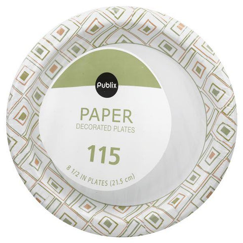 Publix Paper Plates, Decorated, 8-1/2 in, 115 ct