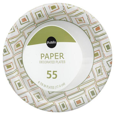 Publix Paper Plates, Decorated, 6-7/8 in