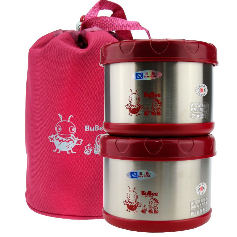 Sunkung stainless steel lunch box 0.5L*2-Red