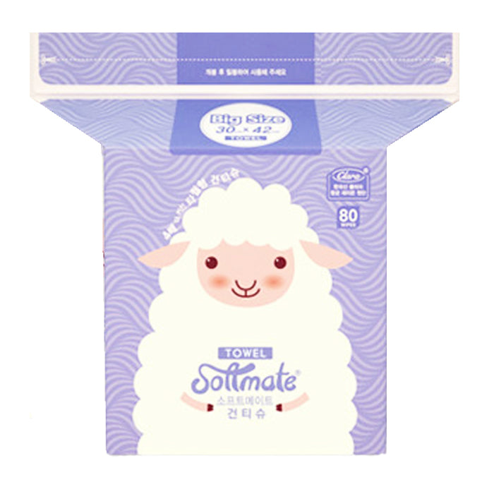 SOFTMATE Nature Dry Tissue 80 Sheets (Large 30cm*42cm)
