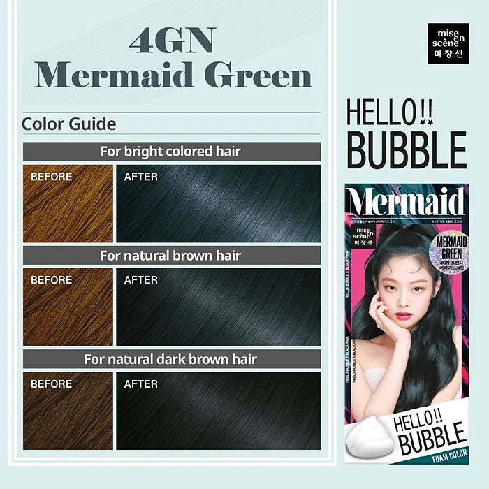 Mise En Scene Hello Bubble Hair Foam Color-Mermaid Green 4GN