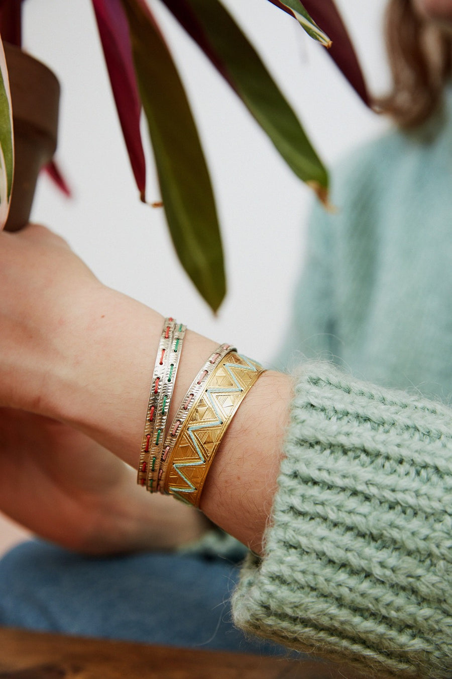 Thin embroidered bracelet