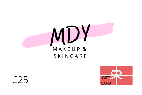 Unsure of what present to buy? Worried about going out to the shops? We have it covered with a Gift Card from MDY Makeup & Skincare! Redeemable on any of our amazing makeup and skincare products from our online store. £25 Gift Card