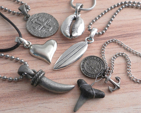 Surf pendants on Necklaces