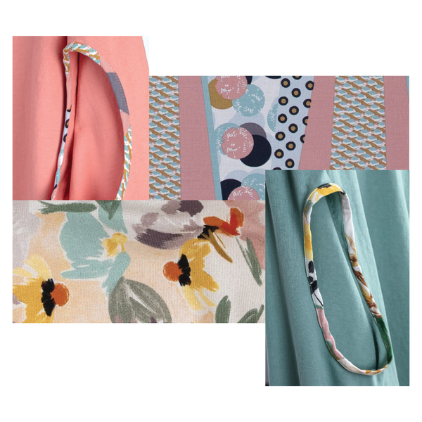 A collage of 4 photos showing the salmon and fern green colors for the bubuleh holey top collection, only with a matching retro fabric for each, filled with floral and shapes.