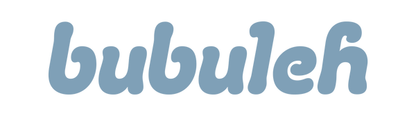 The bubuleh brand logo in a light, retro blue with a white background.