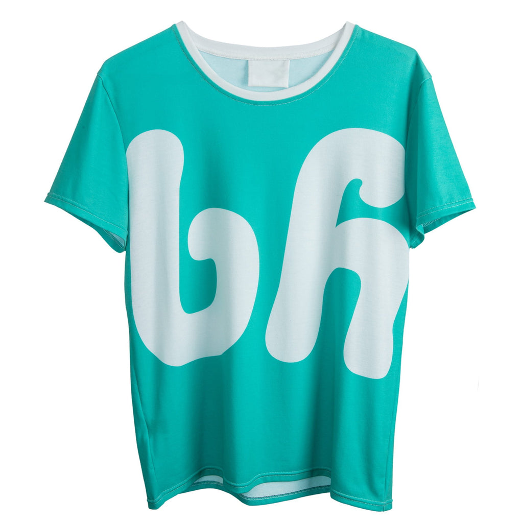 A front view of the bh tee, with the words bh oversized on the front, in light teal.