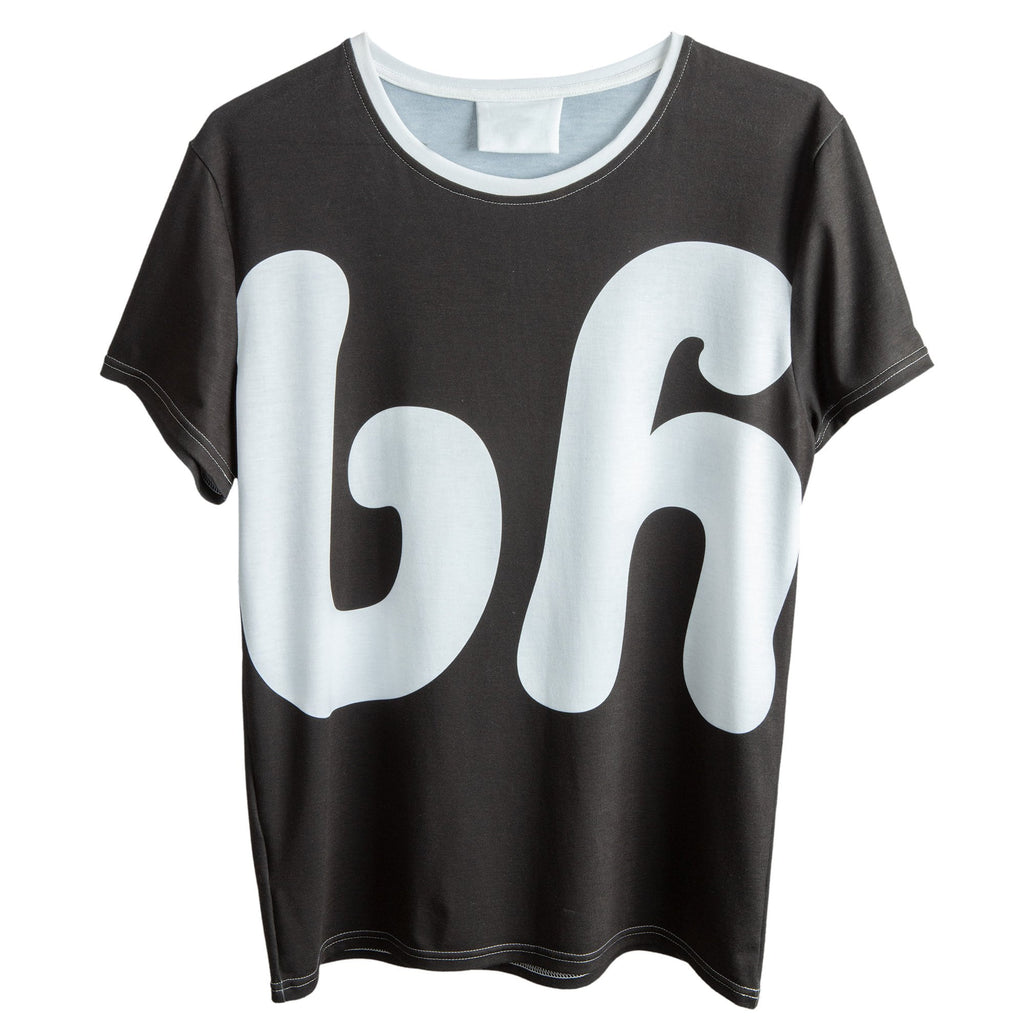 A front view of the bh tee, with the words bh oversized on the front, in jade black.